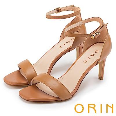 ORIN 時尚名媛 牛皮一字繫踝繞帶後包高跟涼鞋-棕色