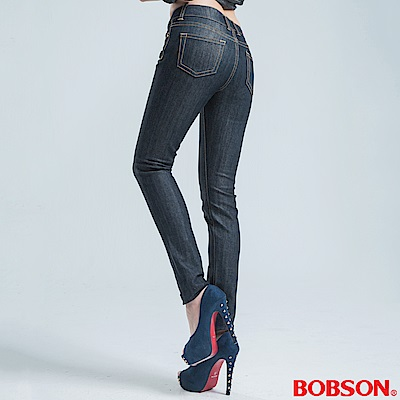 BOBSON 中腰伸縮中喇叭褲-深灰
