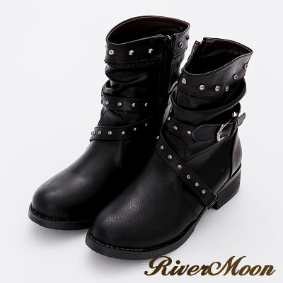 River&Moon大尺碼-復古雕花鉚釘層次扣環工程靴-黑
