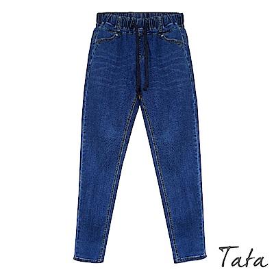 鬆緊腰綁帶素面休閒牛仔褲 TATA