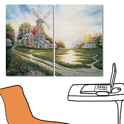 橙品油畫布 兩聯式直幅 藝術無框畫大型掛畫風景-荷蘭的小鄉村40x60cm
