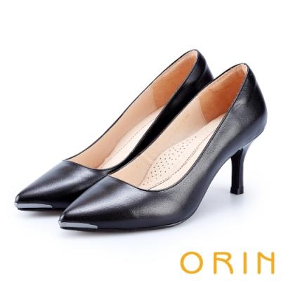 ORIN 優雅女人 羊皮尖頭金屬條百搭高跟鞋-黑色