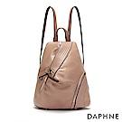 達芙妮DAPHNE-特殊開口不規則拼接後背包-淺粉