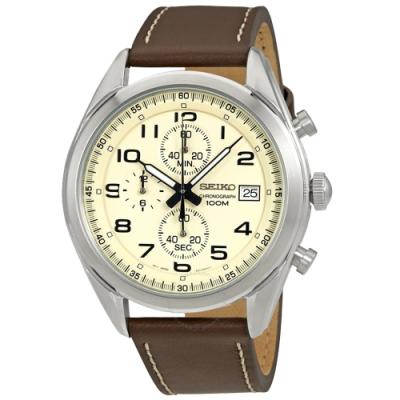 SEIKO精工   卓越商務三眼計時石英腕錶(SSB273P1)-米黃面x45mm