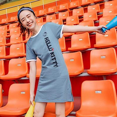 美國棉運動KITTY台灣製長版上衣/洋裝-OB大尺碼