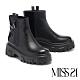 短靴 MISS 21 街頭個性側拉鍊拼接厚底休閒短靴-黑 product thumbnail 1