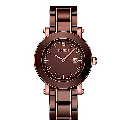 FENDI 典雅時尚仕女腕錶/陶瓷錶帶/咖啡/F 684120