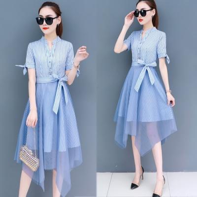 【韓國K.W.】韓流率性格調綁帶條紋網紗洋裝-2色