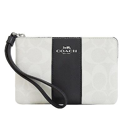 COACH 新款燙印馬車 PVC 直紋拉鍊手拿包(白黑)