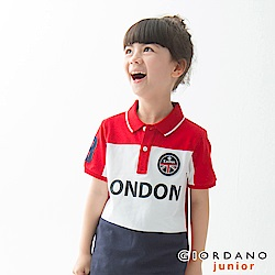 GIORDANO 童裝UNION JACK系列短袖POLO衫-21 高貴紅