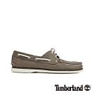 Timberland 男款土棕灰磨砂革帆船鞋|A21J7