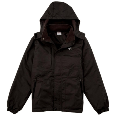 【V.TEAM】男款連帽功能性厚外套-黑