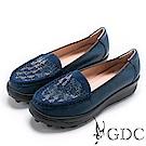 GDC-真皮秋冬閃爍水鑽舒適厚底休閒鞋-藍色