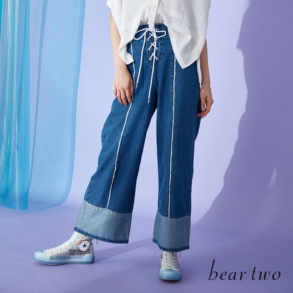 beartwo 都會摩登拼接造型丹寧寬褲(藍色)