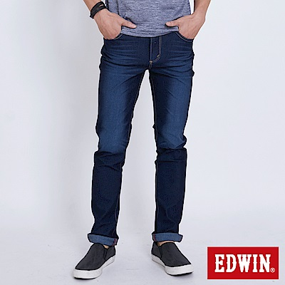 EDWIN JERSEYS 迦績修身極彈窄直筒牛仔褲-男-原藍磨