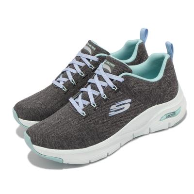 Skechers 慢跑鞋 Arch Fit Comfy Wave 女鞋 專利鞋墊 回彈 避震 穩定 支撐 灰 藍 149414-CCTQ