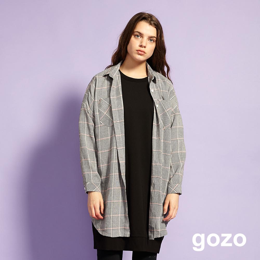 gozo 英倫格紋素面側口袋開扣襯衫洋裝(三款)