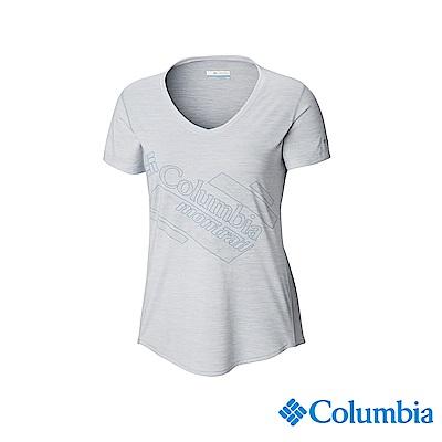 Columbia 哥倫比亞女款-野跑UPF15快排短袖上衣-白色 UAR26590