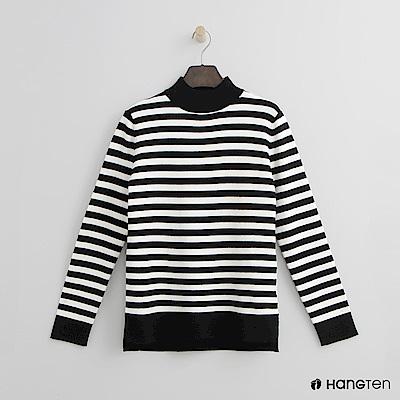 Hang Ten - 女裝 - 微高領條紋針織上衣-黑