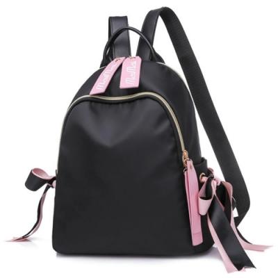 I.Dear-韓系可愛校園少女風字母緞帶雙肩後背包(BG91黑色)