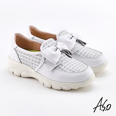 A.S.O  超彈力 蝴蝶結超彈力休閒鞋 白