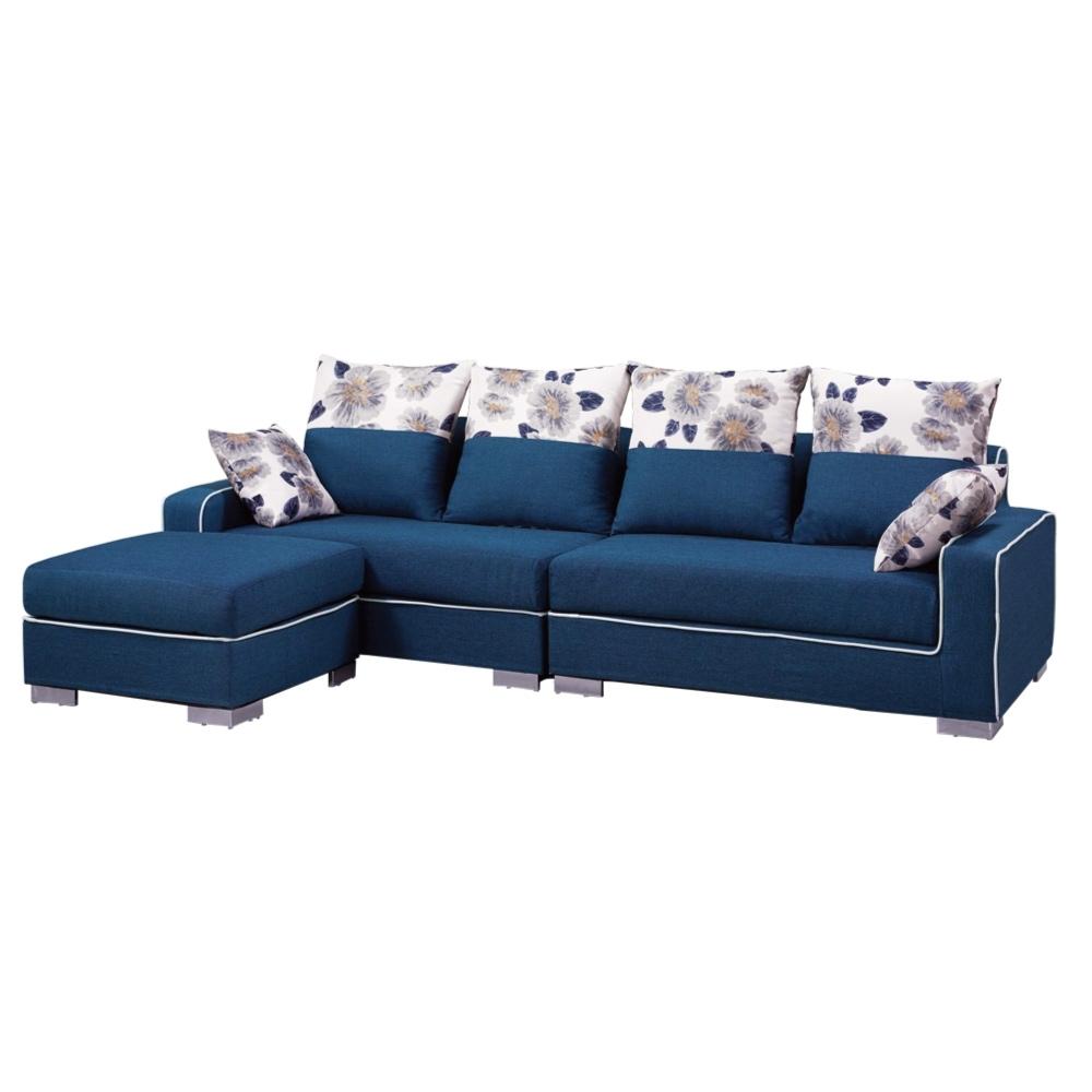 文創集 柯奇簡約藍亞麻布L型沙發組合(四人座+椅凳)-265x162x69cm免組