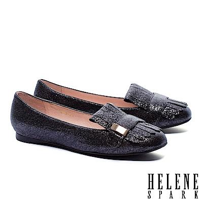 平底鞋 HELENE SPARK 璀璨迷幻流蘇金屬長方飾釦羊皮平底鞋-黑