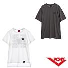 【PONY】純棉直筒短袖上衣T恤 男款兩色 白 鐵灰