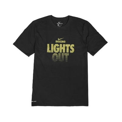 Nike T恤 Boxing Lights Out T 男款 運動休閒 吸濕排汗 DRI-FIT 圓領 黑 金 561416010BXL7