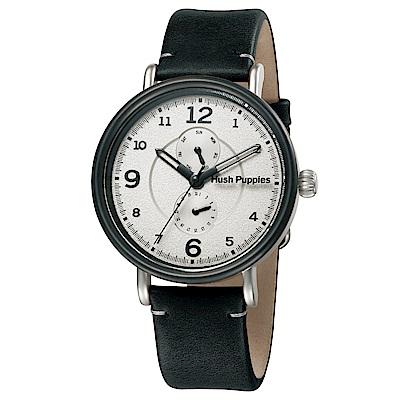 Hush Puppies 知性之旅設計雙眼多功能腕錶-白x黑框/44mm