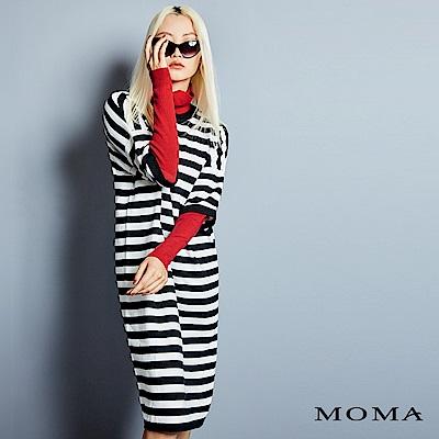 MOMA 假兩件條紋長版毛衣