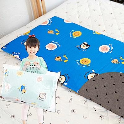 奶油獅-同樂會系列-100%精梳純棉嬰兒備長碳記憶床墊-宇宙藍60*120cm