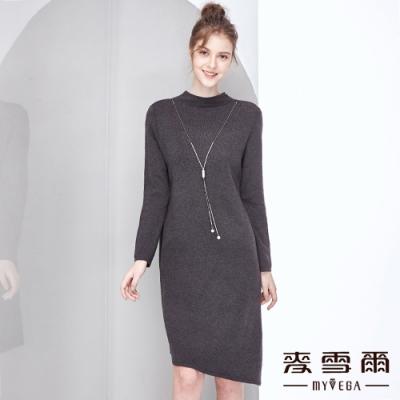 【麥雪爾】特殊剪裁活動項鍊簡約短洋裝
