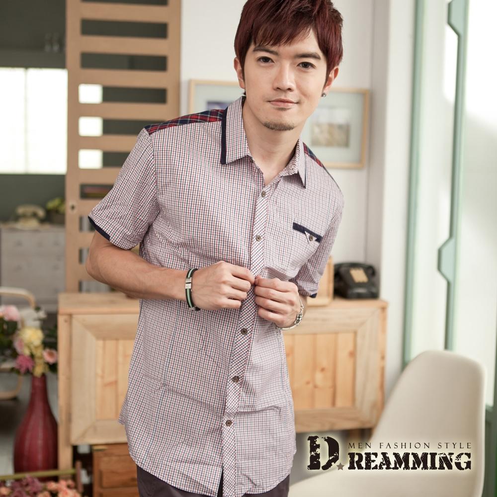 Dreamming 韓風拼接細格紋短袖襯衫-紅藍