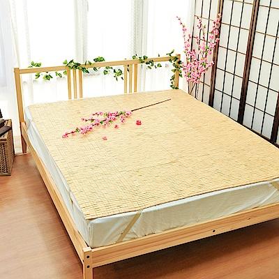 亞曼達Amanda 專利棉織帶天然麻將竹蓆/涼墊 -單人3.5尺 (鬆緊帶款)