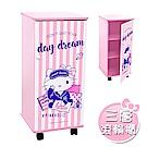 Hello Kitty 凱蒂貓 文青風 DIY活動拉門三層滾輪櫃 活動櫃 置物櫃 收納櫃