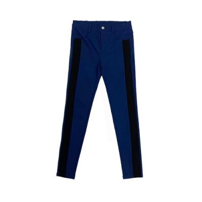 【NATURALLY JOJO】 撞色剪接彈性長褲     (丈青)
