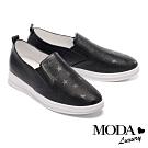 休閒鞋 MODA Luxury 簡約率性星星造型激光全真皮厚底休閒鞋-黑