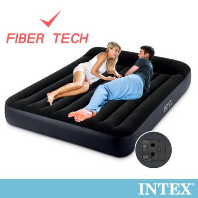 【INTEX】豪華型橫條內建電動幫浦充氣床-雙人加大-寬152cm(67769)