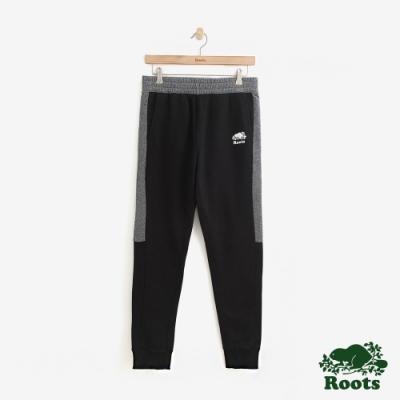 男裝Roots-經典撞色毛圈布棉質長褲-黑