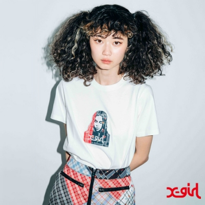X-girl PLAID PATCHWORK FACE S/S REGULAR TEE 短T-白