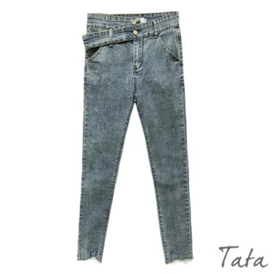 不規則腰頭扣窄管牛仔褲 共二色 TATA-(S~L)