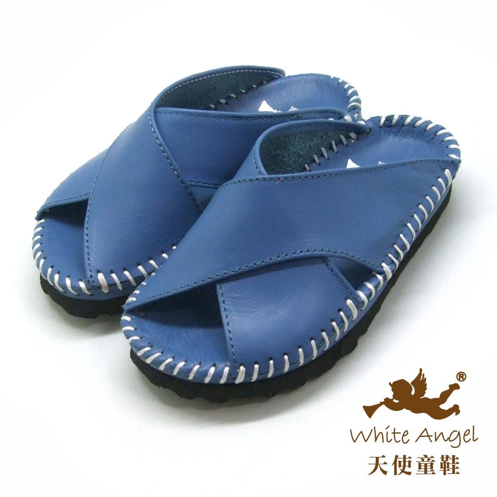 天使童鞋 X真皮手工拖鞋(小-中童)T37-藍