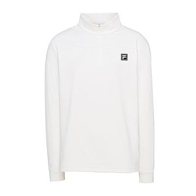 FILA 男款內刷半開襟T恤-米白 1TES-5101-IV