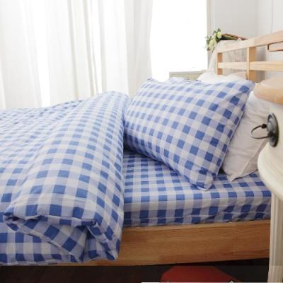 BUHO 雙人加大三件式100%純棉床包組(輕日寓所-水藍)