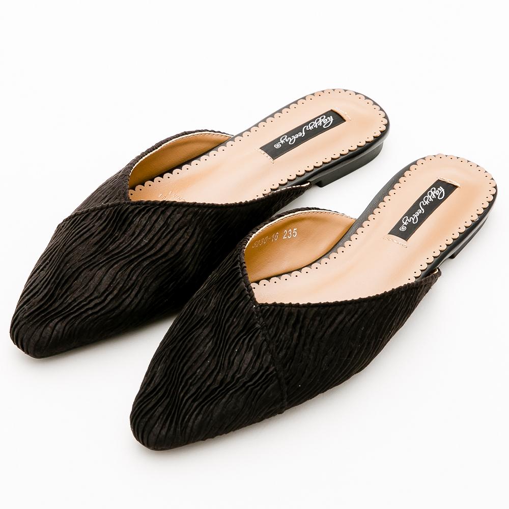 River&Moon素雅絲絨條紋尖頭低跟穆勒鞋*黑