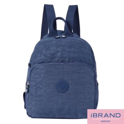 iBrand後背包 輕盈防潑水素色大口袋尼龍後背包-寶藍色