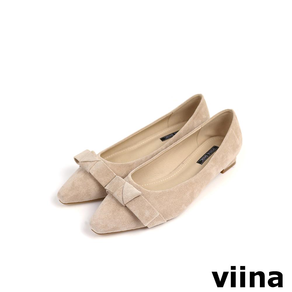 viina Basic 素面蝴蝶結低跟鞋 - 杏