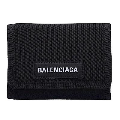 BALENCIAGA 經典Explorer系列品牌字母LOGO尼龍三摺短夾(黑)
