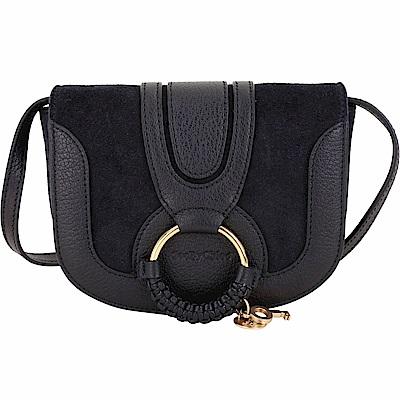 SEE BY CHLOE HANA 迷你款 編織金屬圈拼接麂皮斜背包(黑色) @ Y!購物